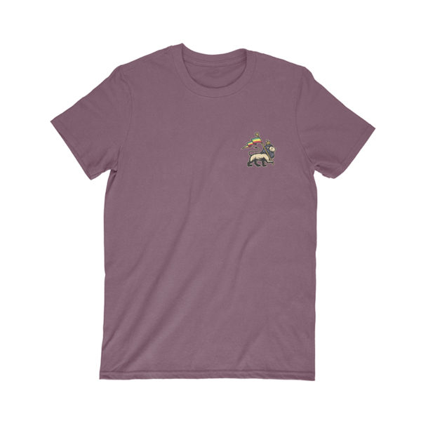 iron like a lion from zion maroon t-shirt front