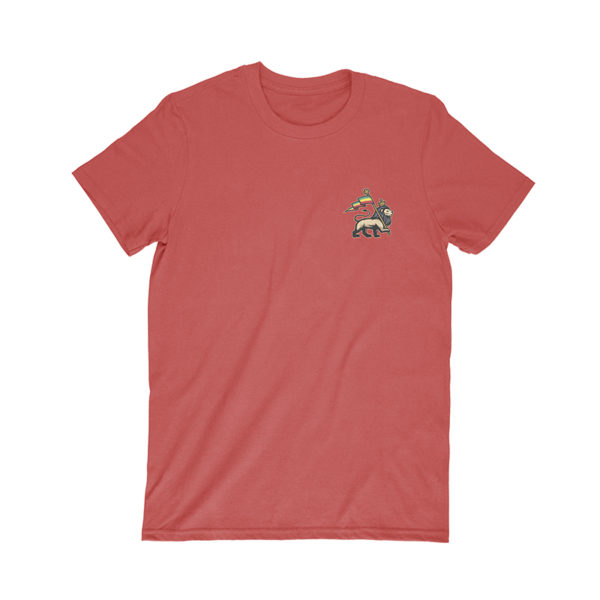 iron like a lion from zion red t-shirt front