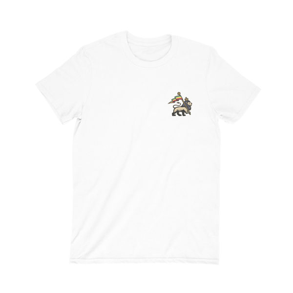 iron like a lion from zion white t-shirt front